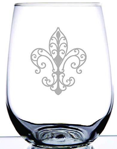 IE Laserware Timeless Fleur De Lis 17 oz Stemless Wine Glass laser etched