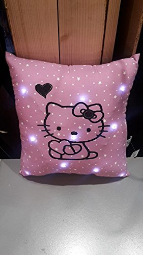 coussin lumineux en mauve étoilée hello kitty