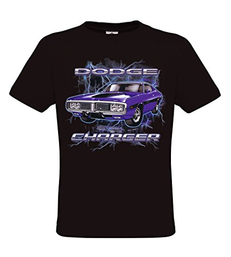 Ethno Designs Dodge Charger - American Muscle Cars - Mens Vintage Rockabilly & Rock `n Roll T-Shirt - regular fit, black, size XL