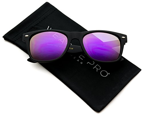 Premium Polarized Wayfarer Style Mirrored Lens Sunglasses (Black Frame / Mirror Pink/Yellow, - Purple Wayfarers