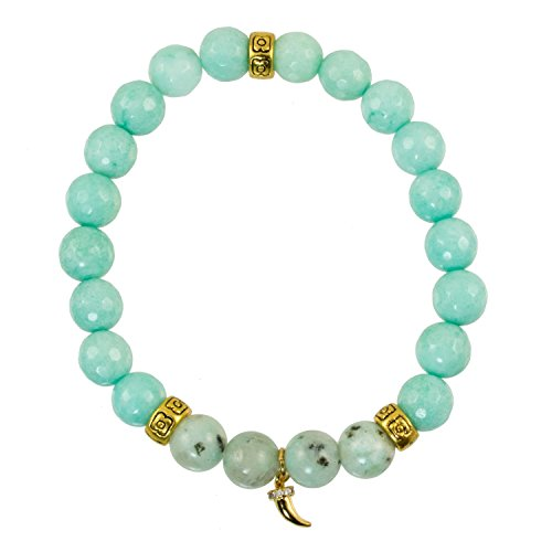 Design Antique Horn - 8mm Chalcedony and Sea Jasper Beads with Antique Gold-Plated Accents with Horn Charm -Stretch Bracelet