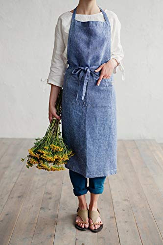MagicLinen Denim Womans Linen Apron, 100% Linen, Blue Melange, Pre Washed. Made in Europe.