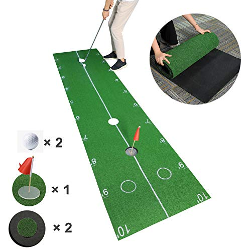 TIANNBU Golf Putting Mat Paw Design Putting Green Easy Lay Flat Synthetic Turf 2.4×10ft Artificial Grass Lawn for Home Office Backyard Indoor Outdoor
