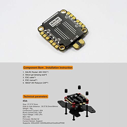 Wikiwand DALRC Rocket 45A 4 in 1 ESC Brushless 3-6S Blheli_32 LIHV DSHOT1200 for Drone by Wikiwand (Image #5)