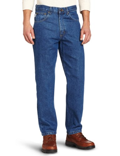 Carhartt Men's Five Pocket Tapered Leg Jean, Dark Stone, 31W x 34L Carhartt Flannel Lined Jeans