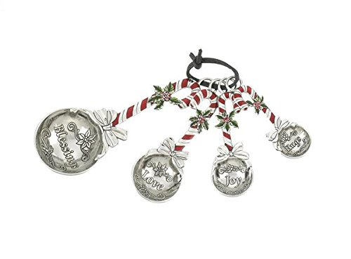 Ganz 4-Piece Holiday/Christmas Measuring Spoons Set - Candy Cane -