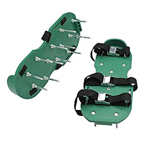Barbariol Lawn Aerator Shoes Nylon, Grass shoes Spikes 3 Straps with Metal Buckles Size Adjustable