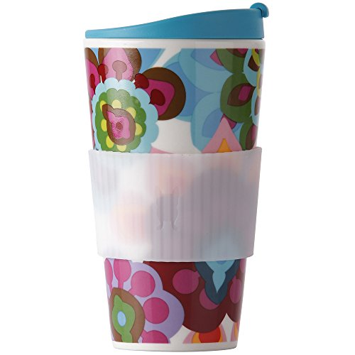 French Bull-Porcelain Travel Mug with Lid-Traveler-To-Go Tea and Coffee Cup-Gala, Multi
