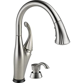 Delta Faucet 9192T SSSD DST Addison Single Handle Pull Down Kitchen Faucet  With Touch2O Technology And Soap Dispenser, Stainless