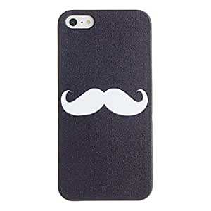 HP White Mustache pattern PC Hard Case with Black Frame for iPhone 5/5S
