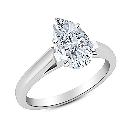- 0.5 1/2 Ct GIA Certified Pear Cut Cathedral Solitaire Diamond Engagement Ring 14K White Gold (I Color VVS1 Clarity)