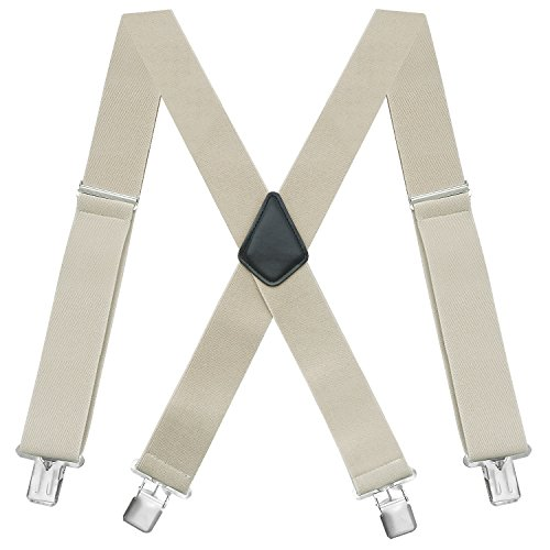 "Fasker Mens Suspenders X-Back 2"" Wide Adjustable Solid Straight Clip Suspenders"