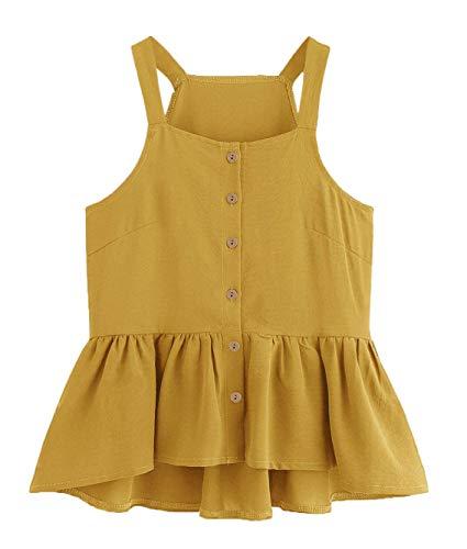 (Verdusa Women's Casual Single Breasted Ruffle Hem Racerback Cami Top Shirt Mustard S)