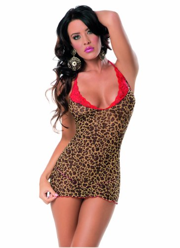 Escante Women's Sexy Instincts Chemise, Leopard/Red, One Size