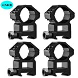 TACwolf 4 Pack Scope Rings 1 Inch High Profile Scope Mounts for Picatinny Weaver Rail