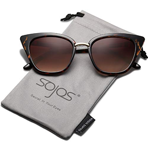 SOJOS Cat Eye Brand Designer Sunglasses Fashion UV400 Protection Glasses SJ2052 with Tortoise Frame/Gradient Brown Lens