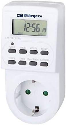 Orbegozo PG 20 - Programador eléctrico digital con pantalla LCD, temporizador de funcionamiento programable
