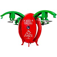Lizer Christmas Egg Shaped RC Drone With Live Stream WIFI FPV Altitude Hold 720P HD Camera Headless Mode Onekey Unfold Auto hover Auto Landing Christmas Gift Smart Phone and 2.4Ghz RC Drone (RED)
