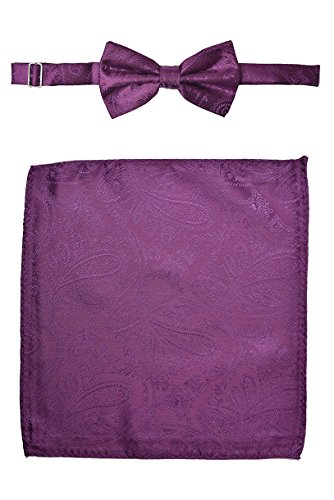 Men's Premium Paisley Bow Tie with Matching Pocket Square Set BowTie Handkerchief For Suits or Tuxedos (Dahlia Plum (Dahlia Plum)