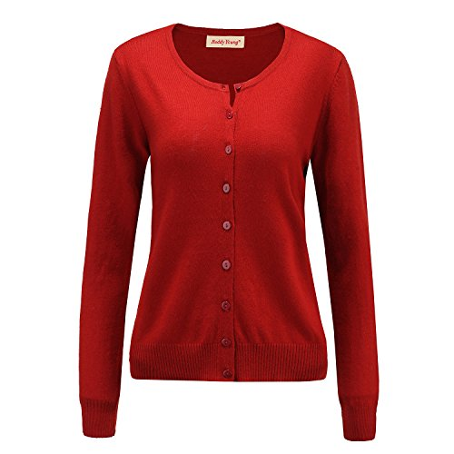 - Panreddy Women's Wool Cashmere Classic Cardigan Sweater Dark Red XL