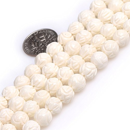 (White Coral Beads for Jewelry Making Round Buddha 8mm Carved Lotus Flower 15