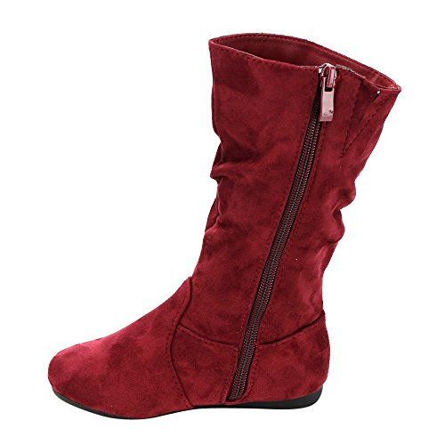 LINK GD92 Girl's Mid-Calf Solid Color Flat Heel Slouch Boots Photo #8