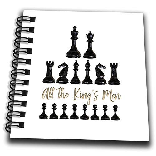 (3dRose Alexis Design - Sport Chess - Set of Black Chessmen and a Text All The Kings Men on White - Mini Notepad 4 x 4 inch (db_302155_3))