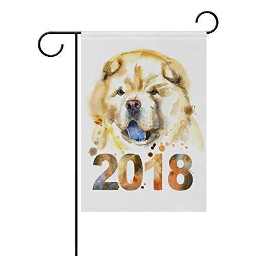 Top Carpenter Chow-Chow Dog Double-Sided Printed Garden House Sports Flag - 28x40(in) - 100% Premium Polyester Decorative Flags for Courtyard Garden Flowerpot (Chow Garden Flag)