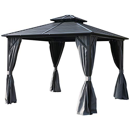 Outsunny 10'x 10′ 2-Tier Hardtop Permanent Gazebo with Mesh Net and Privacy Sidewall ...
