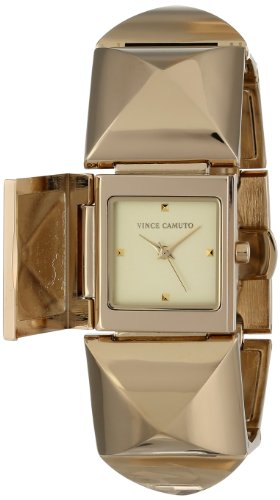 Vince Camuto Women's VC/5026CHGB Gold-Tone Pyramid Bracelet Covered Dial Watch