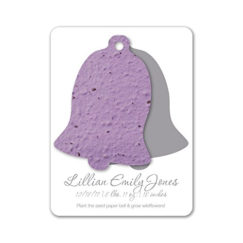 (Bloomin Plantable Bell Birth Announcement Favor with Seed Paper - Lavender {25 Card Set})