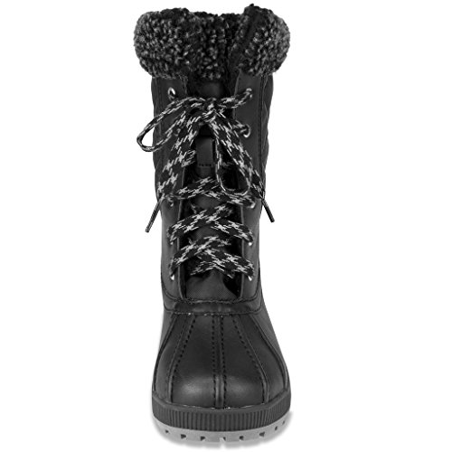 London Fog Womens Swanley Cold Weather Snow Boot Nero Quilting