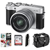 Fujifilm X-A5 24.2MP Mirrorless Digital Camera XC 15-45mm f/3.5-5.6 OIS PZ Lens, Silver - Budle 16GB SDHC Card, Camera Case, Card Reader, PC Software Package