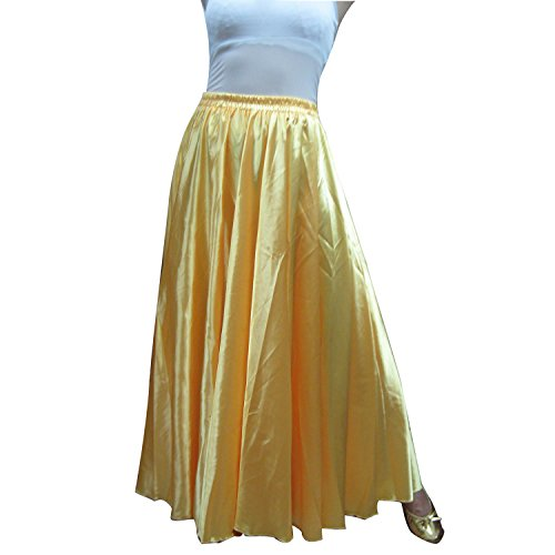 Whitewed Satin Belly Dance Dancing Circle Gypsy Skirt Clothes Tribal Fusion Clothing Gold