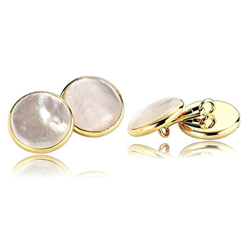 (MoAndy Gold Silver Rhodium Plated Mother of Pearl Abalone Shell Cufflinks Round French Clip)
