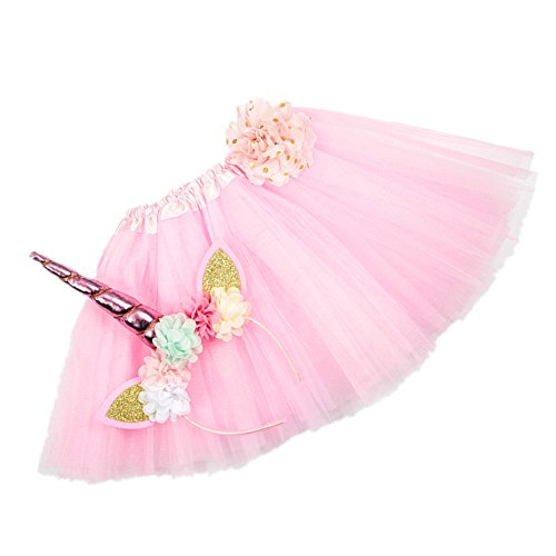 Nishine Tutu Skirt Dress + Unicorn Horn Headband Set Kids Birthday Photo Props Outfit