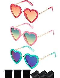 3 Pairs Kids Polarized Heart Shaped Retro Sunglasses for...