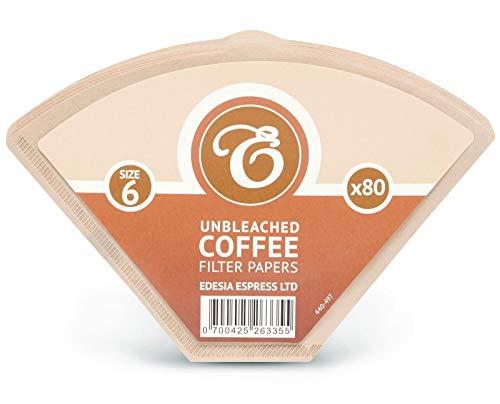 EDESIA ESPRESS - Pack de 80 filtros de papel para cafe - Tipo cono - sin blanquear - Tamano 6