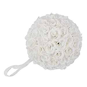 10 Pack Romantic Rose Pomander Flower Balls Rose Bridal for Wedding Bouquets Artificial Flower DIY White By Ben Collection 2