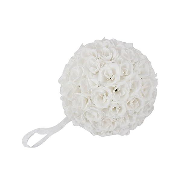 Ben Collection 15 Pack Romantic Rose Pomander Flower Balls Rose Bridal for Wedding Bouquets Artificial Flower DIY White