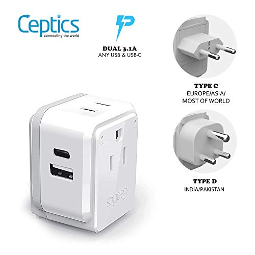 India, Maldives Power Plug Adapter Travel Set Ceptics, Safe Dual USB & USB-C 3.1A – 2 USA Outlet – Compact & Powerful…