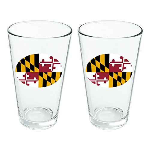 Maryland State Flag Novelty 16oz Pint Drinking Glass Tempered Set of 2