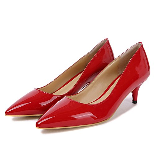 Rojo Kitten Bajo Aguja Oficina Gianni Darco Fiesta Mujer Tacón Shoes Clásicos Boda Medio Cerrada Patente Punta Zapatos De wnqxaxXRB