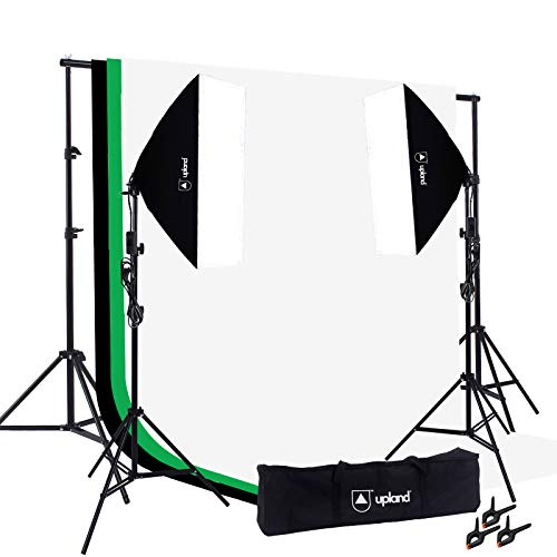 Upland Softbox Lighting Kit for Photo, Photography and Video Studio, 2 Softbox (20x28) + Backdrop Support Stand (6.6x10FT) + 3 Backdrops (6x9.2FT)