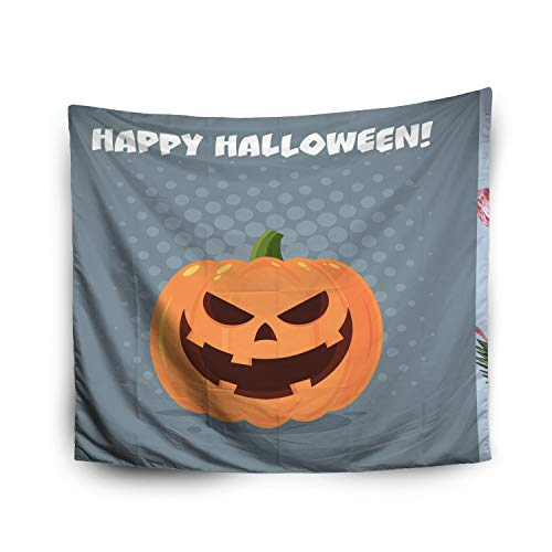 Pamime Home Decor Tapestry for Halloween Evil Halloween Pumpkin Cartoon Emoji Face Character with Wall Tapestry Hanging Tapestries for Dorm Room Bedroom Living Room (60x80 Inches(150x200cm) -