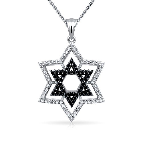 Black White Pave Cubic Zirconia CZ Magen Jewish Hanukkah Star Of David Pendant Necklace For Women 925 Sterling Silver