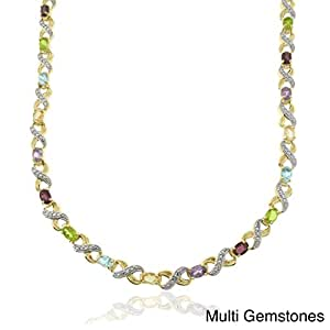 Central World Dolce Giavonna Two-tone Silver Multi-gemstone and Diamond Accent Oval 'XO' Link Necklace-Multi Gemstones