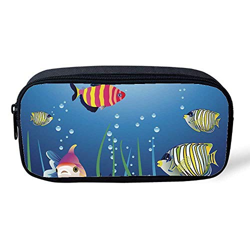 262453b1bd6a Aquarium Multifunctional Pencil Bag,Aquarium Seascape with Colorful  Tropical Fishes Bubbles Seaweed Marine Theme Decorative for Birthday  Festival,8
