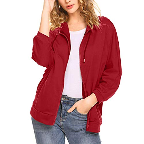 HULKAY Cardigan Jackets for Women Batwing Sleeve Pure Color Zip Lightweight Work Office Daily Jacket with Pockets(WIne,L)