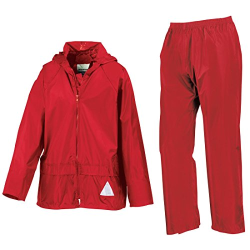 Nueva Resultado Junior Heavyweight Chaqueta Impermeable/perchero de pared de traje de para pantalones/pantalones Set Rosso